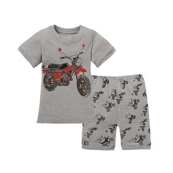 Grey Boy Pajamas Clothes Suit Summer Short Racing Motorcycle Children Pj's Tee Shirt Pant 2-Pieces Sleepwear Boys Tops 2-7 Years 1