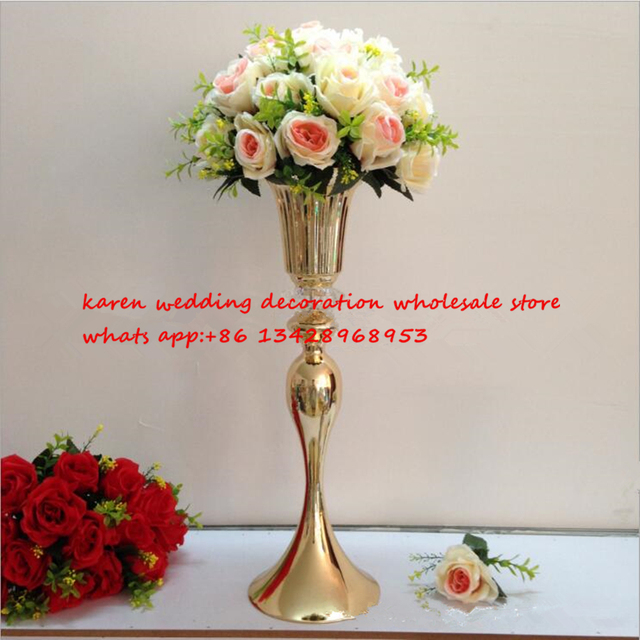 Goldsilver wedding flower road lead wedding table flower vase party goldsilver wedding flower road lead wedding table flower vase party centerpiece home decoration junglespirit Image collections