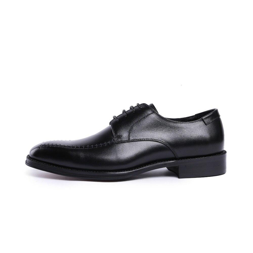 Männer Leder 1 Derby Arbeit Echtes Neue Kleid Der Designer 44 2 Schuhe Kuh Nähen Büro Qualität Mann Mode Hohe Hochzeit dwwqvUE