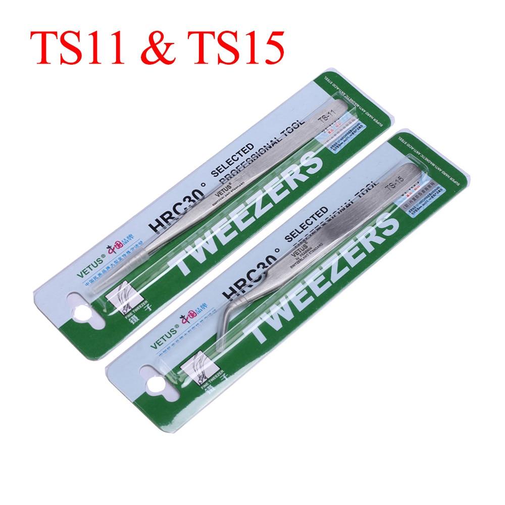 High Precision Stainless Steel VETUS Tweezers Pinzas Curved Straight Tip Tweezer For Electronic Repair Rework Hand Clamping Tool