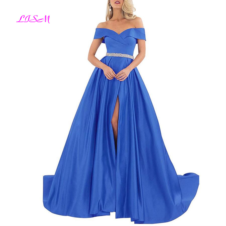 Long Satin Evening Dresses Sexy Off Shoulder Side Split Empire Prom Dress A-Line Floor Length Formal Party Gowns robe de soiree