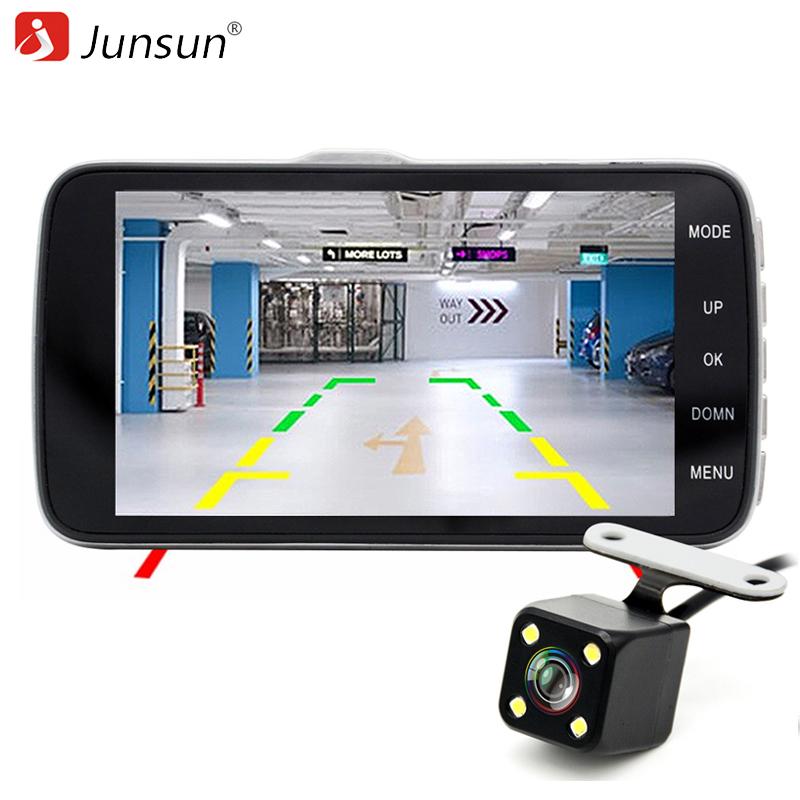 """Prix pour Junsun 4.0 """"voiture DVR Caméra Double Lentille avec LDWS ADAS Arrière vue Support Avant De Voiture d'alerte À Distance Full HD 1080 P voiture dvr dashcam"""