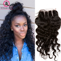 7A Lace Closure With Baby Hair Loose Curly Human Hair Closure Peruvian Loose Wave Closure Free Middle Three Part Top Closure