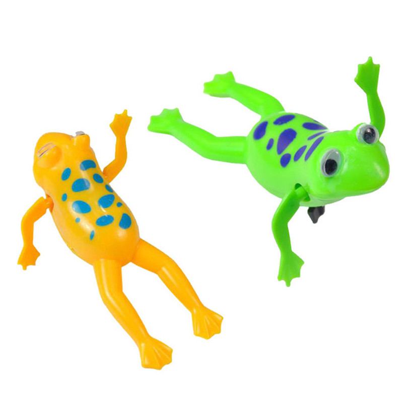 Dabbling Toy Random Color Animal Plastic Frogs Wind Up Clockwork Toy Baby Bathing Shower Toys suit for tub or pool #5JE19#F