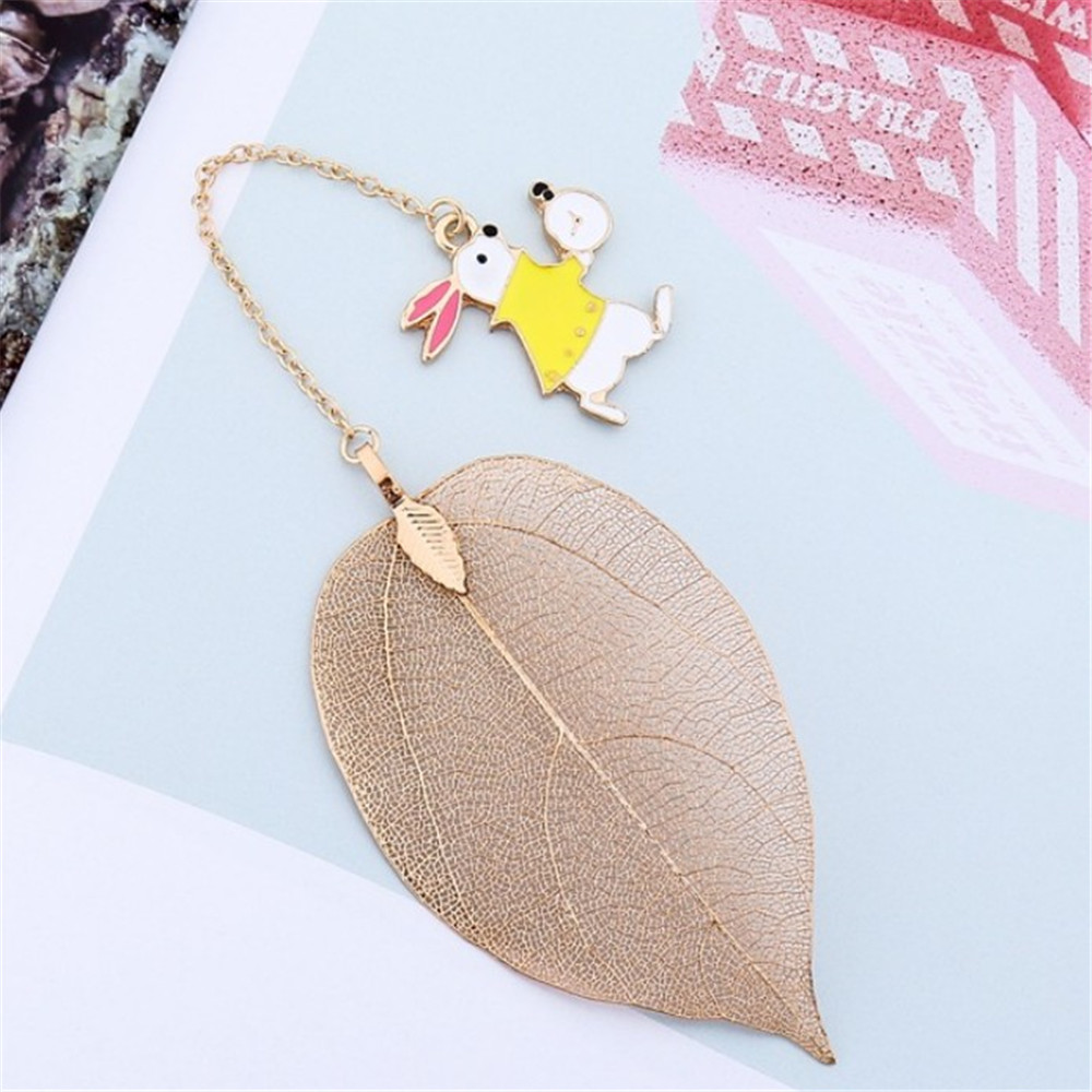 1 PC Leaves Pendant Alice Clock Rabbit Bookmark Paper Clip Book Support Book Page Holder Stationery School Office Supply
