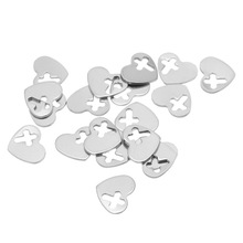 10Pcs Silver Tone Stainless Steel Stamping Blank Heart Hollow Cross Charms Pendants Jewelry 12x10mm