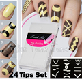 24 Folhas/Set French Manicure DIY Nail Art Tips Guias Stickers Stencil Tira Chevron Zig Zag Linha Reta Diferentes projeto