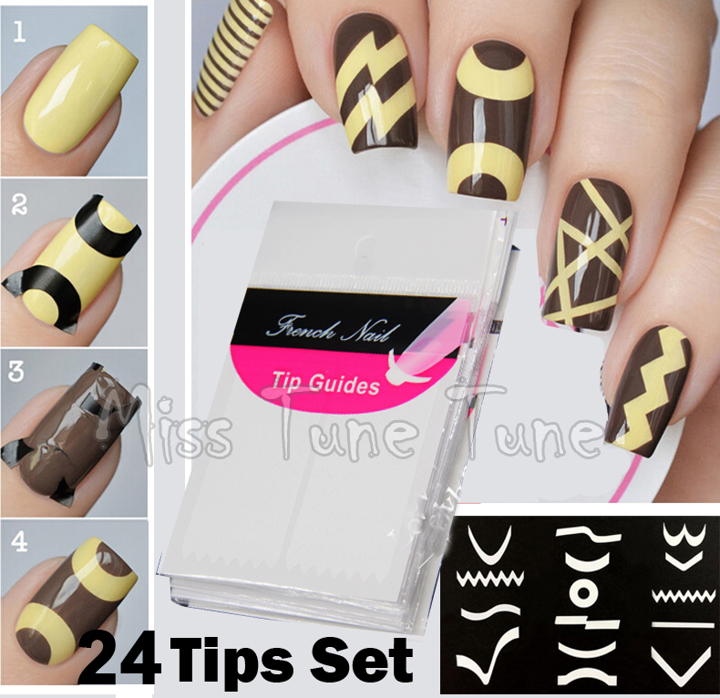 24 Sheets Set French Manicure DIY Nail Art Tips Guides Stickers Stencil Strip Chevron Zig Zag