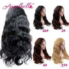 Angelbella Brazilian Front Lace Wigs with Baby Hair 150 Density Human Hair Lace Wig 1b#2#4#27# Instocks Body Wave Front Lace Wig