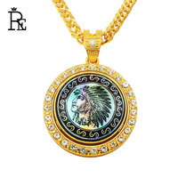 RE New Design Rotatable Necklace With Crystal Hiphop Link Chain For Men Women Indian Chiefs Gold