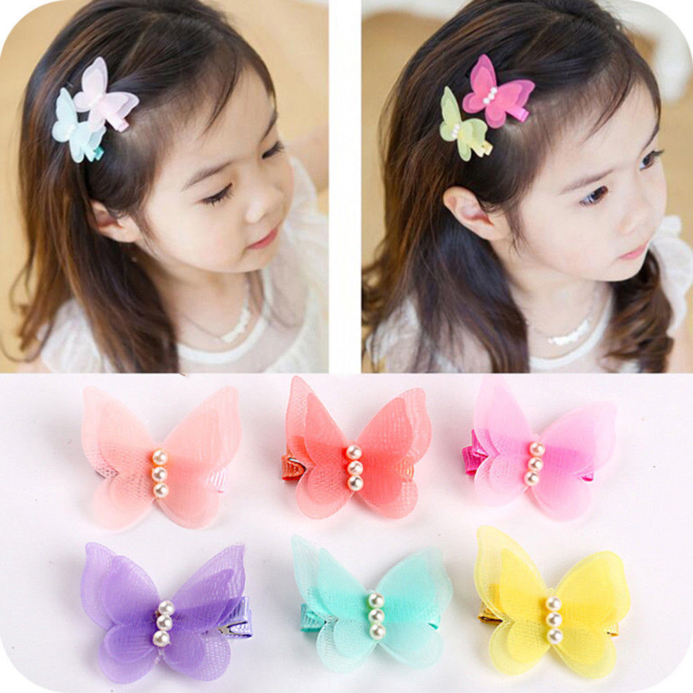 2 Pcs/lot Candy Color Chiffon Butterfly Hair Clips Girls' Hair Grips Kids Hairpin Headwear Tool Fashion Hair Accessories
