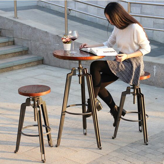 Charming Wrought Iron Bar Chair Lift European Retro Wood To Do The Old Industrial  Style Bar Tables