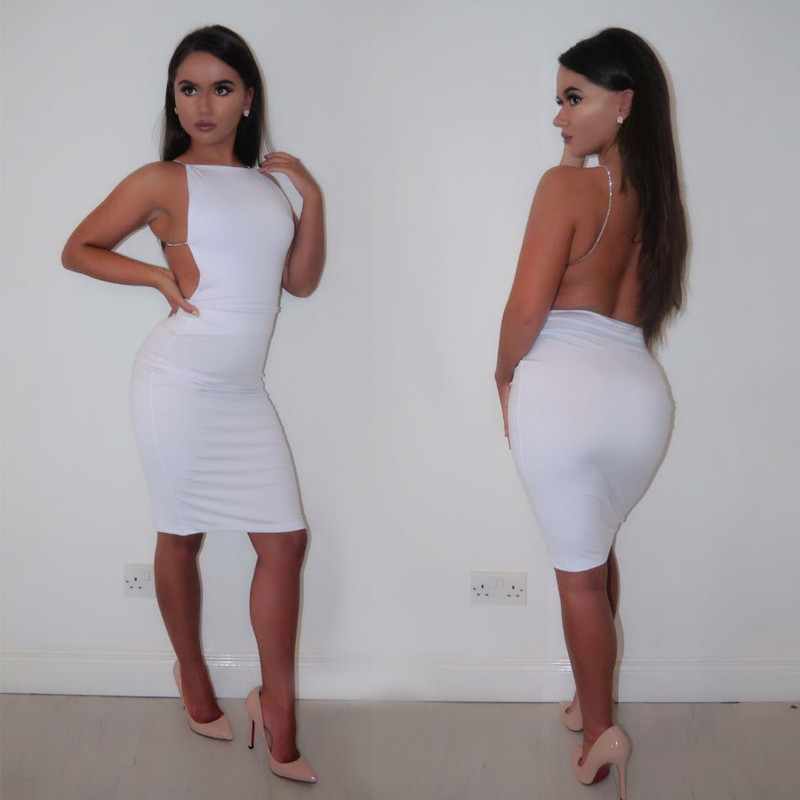 fashion style good selling hot products White Sexy Party Dresses Women Night Club dress backless Summer Dress  Spaghetti Strap Bodycon Dress Vestidos