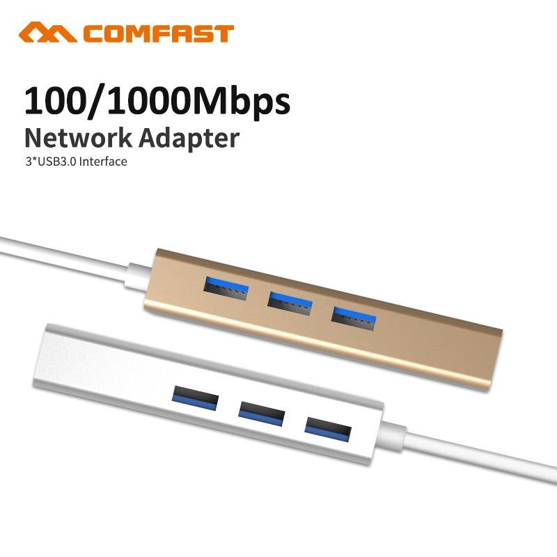 Comfast USB 3,1 tipo C a 3 Puerto USB 3,0 Hub con RJ45 10/100/1000 Gigabit red Ethernet Adaptador convertidor de Cable