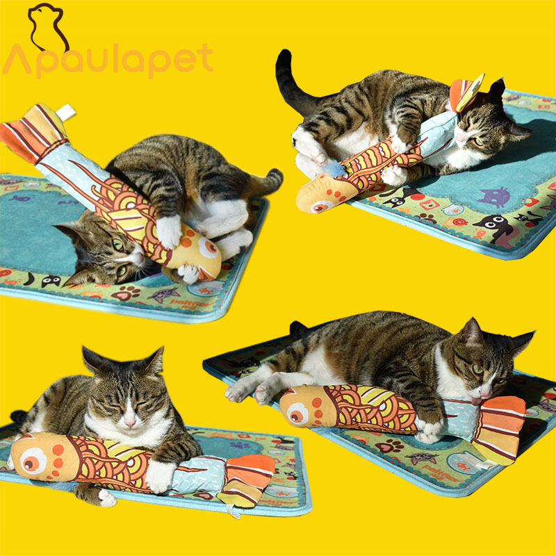 APAULAPET Colorful Small Fish Style Cat Toy Durrable Canvas Fat Cat Pillow Toy With Catmint Catnip Pet Accessory Cat Product