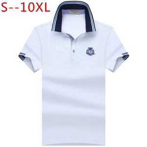 SHABIQI 2018 العلامة التجارية رجل لعبة البولو قميص القطن قصير كم قميص للرجال Camisa بولو أوم الكلاسيكية عارضة حجم 6XL 7XL 8XL 9XL 10XL