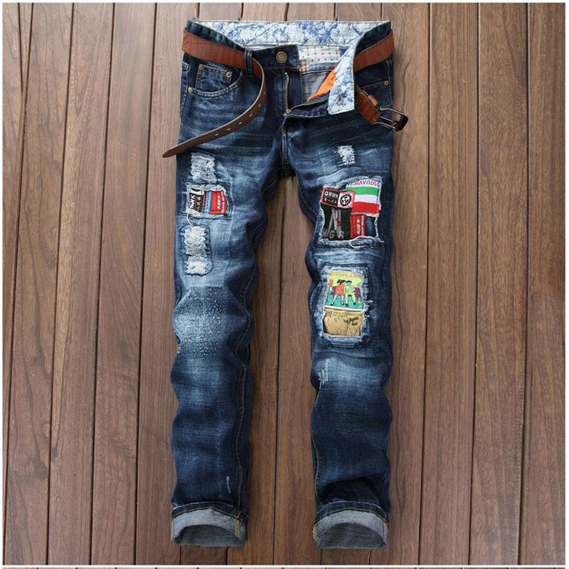 Men's Denim Blue Fashion Patchwork Badge Jeans Scratched Ripped Biker Jean Night Club Personality Straight Slim Hole Pant 29-38 personality patchwork jeans men ripped jeans fashion brand scratched biker jeans hole denim straight slim fit casual pants mb541