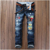Men's Denim Blue Fashion Patchwork Badge Jeans Scratched Ripped Biker Jean Night Club Personality Straight Slim Hole Pant 29-38