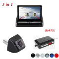 Free Shipping, 3in1 4.3 Inch Degital Car Monitor Auto Parking Sensor Radar Buzzer Apeaker BIBI+ Rear View Camera Car Parking cam
