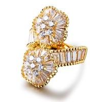 All Seasons Luxury Women Flower CZ Rings AAA Quality Cubic Zirconia Prong Setting Romantic Wedding Jewelry