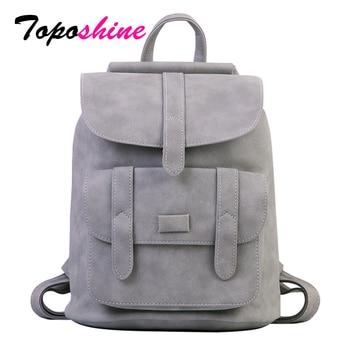 Женский винтажный рюкзак Toposhine, черный школьный рюкзак из искусственной кожи, сумка official store