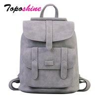 Toposhine известный бренд рюкзак женские рюкзаки однотонные винтажные девочки школьные сумки для девочек черный PU кожаный женский рюкзак 1523