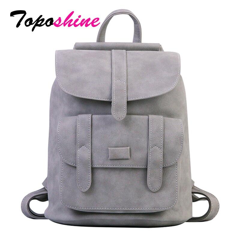 Toposhine famosa marca de mochila mochilas para sólida Vintage niñas bolsas para la escuela de niñas negro de cuero de la PU de las mujeres mochila 1523