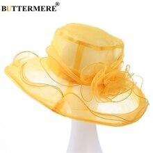 BUTTERMERE Sun Hat Organza Ladies Yellow Flower Elegant Church Hats Women Summer Spring Stylish Lightweight Hawaiian Beach