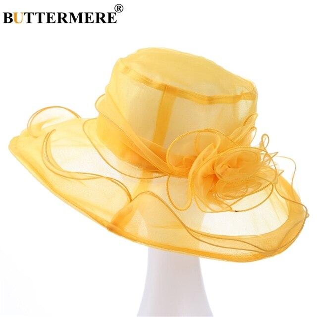 275996df BUTTERMERE Sun Hat Organza Ladies Yellow Flower Elegant Church Hats Women  Summer Spring Stylish Lightweight Hawaiian