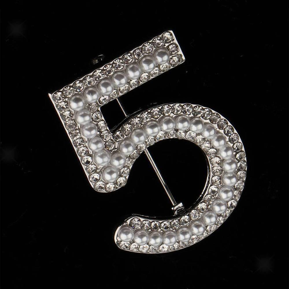 Fatpig Женская Брошь с буквой 5, полная Брошь со стразами-кристаллами, вечерние перламутровые булавки для ювелирных изделий, свадебная брошь No.5