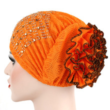 Women Flower Muslim Hair Loss Cap Turban Hat Cancer Elastic Fashion Chemo  Hot Drilling Cotton Head Wrap Solid Color Hat