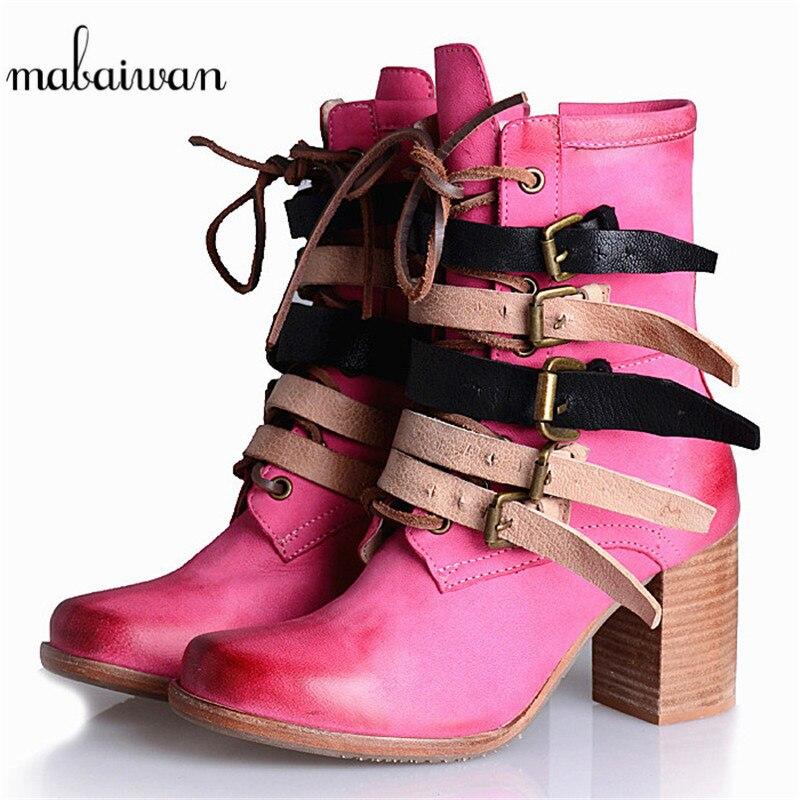 Mabaiwan/женские ботильоны из натуральной кожи в стиле панк; осенние ботильоны на высоком каблуке с ремешком; Botas Militares zapatos mujer; женская обувь на