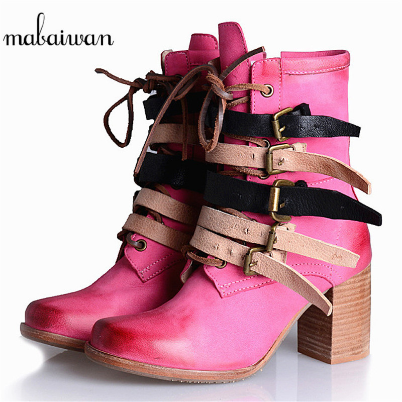 Mabaiwan Punk Style Women Genuine Leather Ankle Boots Autumn Straps High Heel Botas Militares Zapatos Mujer Platform Shoes Woman cuddlyiipanda 2017 punk boots women black ankle boots motorcycle thin high heel double buckle punk platforms botas mujer