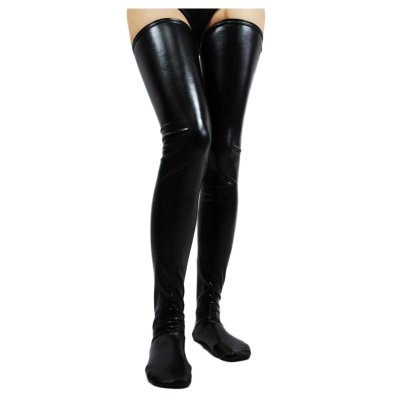 New Hot Sale Winter Thigh High Stocks Cludwear Long Black Faux Leather Sexy Latex Stockings Women Wet Look Vinyl Fetish Stocking