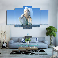 Factory sales 5 Piece Canvas Art Jumping Shark Painting Wall Pictures Decoration Framed Modular Painting No Framed