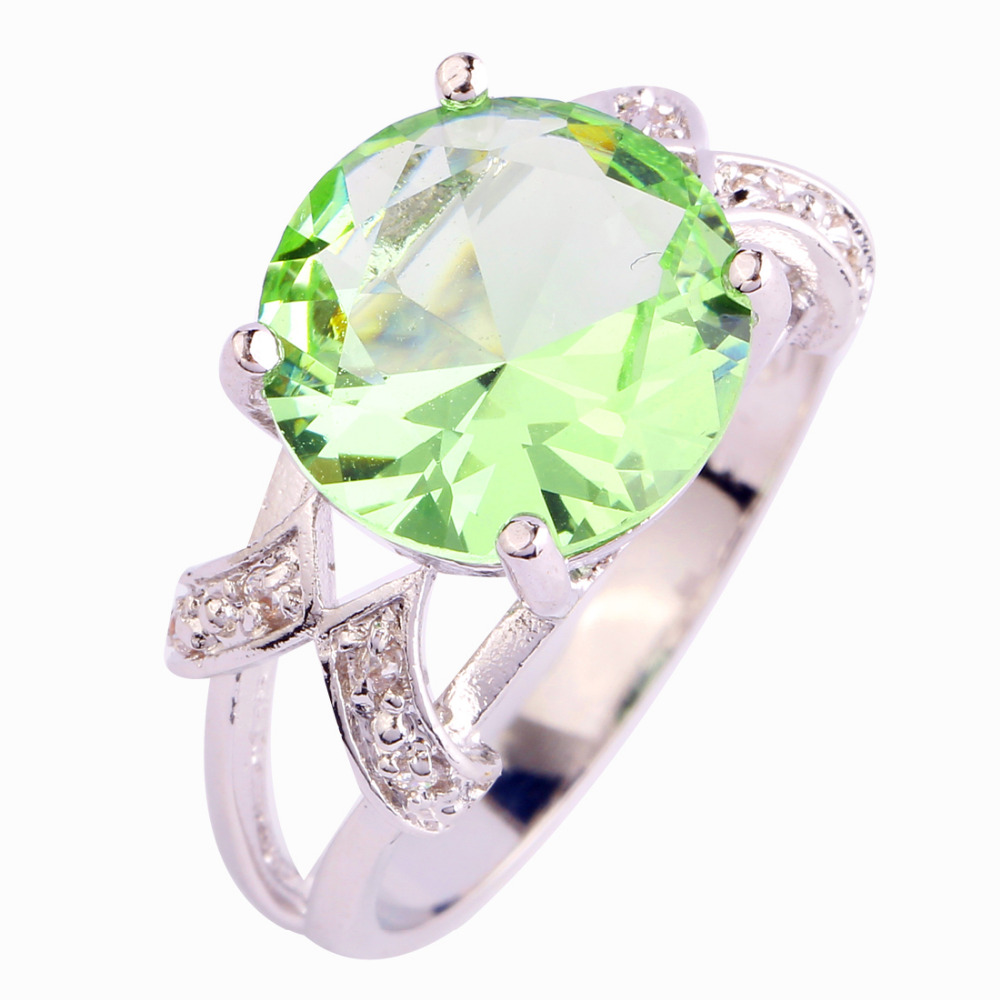 Lingmei Classic Style Cocktail Grön & Vit CZ Silver Färg Ring Full Storlekar Vackra Fahion Smycken För Kvinnor Parti Partihandel