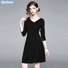 High Quality Waist Mini Dress Women Autumn Black Holidays Sexy Club Female Vintage Long Sleeve Dresses Summer