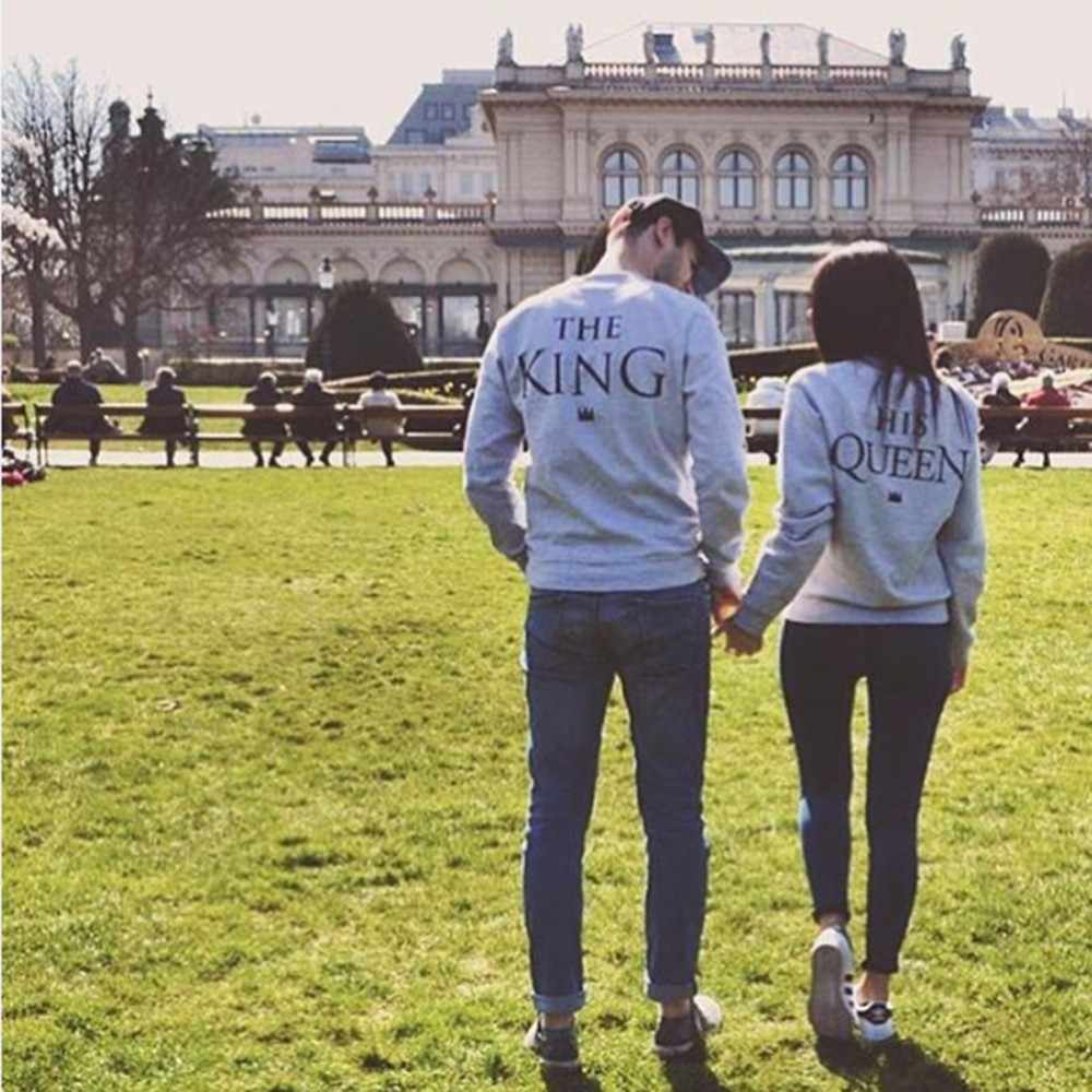 King Queen Couple Print Letter Tops Blouse For Couple lovers Light Gray Pullover Hoodie