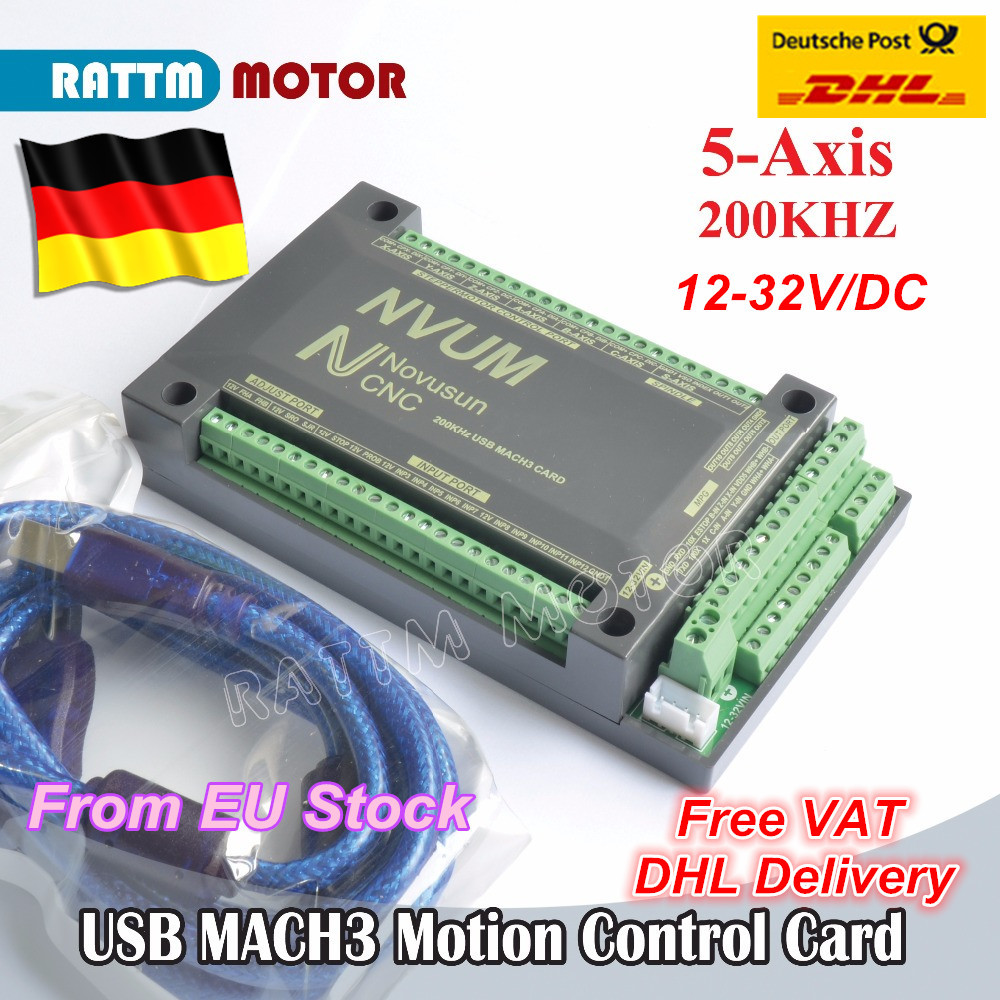 5 Axis 200KHZ MACH3 USB Motion Control Card NVUM CNC Controller for CNC Mill Router Stepper Motor Servo motor from RATTM MOTOR