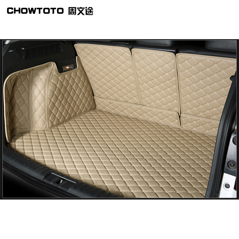 CHOWTOTO Custom Special Trunk Mats For Audi Q2 Q3 Q5 Q6 A4 A6 Durable Waterproof Leather Luggage Carpets For Audi Car Trunk Mats