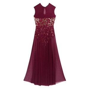 Image 5 - TiaoBug שרוולים פרחוני פאייטים התעמלות בלט בגד גוף נשים ארוך שמלת למבוגרים מודרני עכשווי לירי ריקוד תלבושות