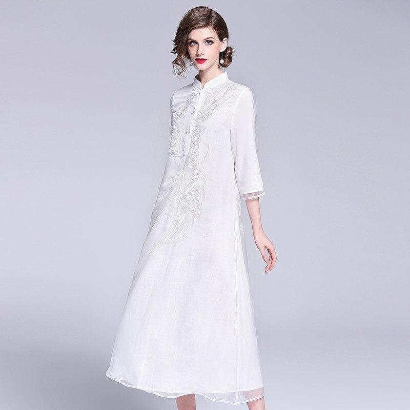 2019 printemps été automne haut de gamme boutique vêtements pour femmes broderie européenne et américaine lâche robe simple boutonnage femmes