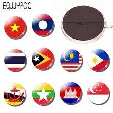 30mm Glass Gemstone Southeast Asian Flag Souvenir Fridge Magnet Refrigerator Decorative Magnetic Sticker.