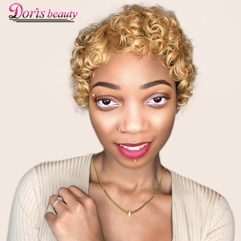 Doris Beauty Short Curly Black Cute Wig For Women Blonde African Afro Hair Synthetic Wigs For Women Short Hair Heat Resistant