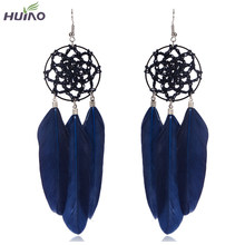 Feather Tassel Drop Earrings Vintage Pink&Black Bird Feather Earring Spider Web Wrapping Rope HY-7135(China)