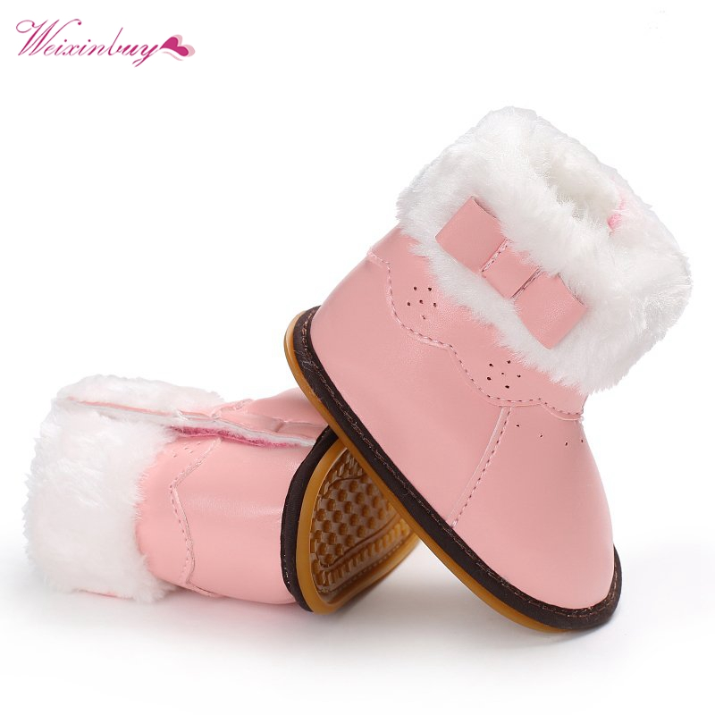 Shoes Baby-Girl Boots Crib First-Walkers Soft-Rubber Newborn Infant Toddler Winter PU