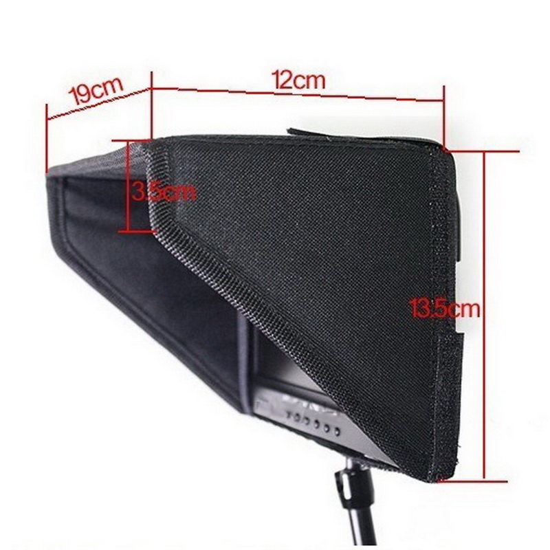 7/8Inch HDMI LCD Viedo Monitor Camera Sunshade Sun Shade Hood with Strip Black 1 pc phone hood monitor hood for rc monitor drone phone shading sun accessories