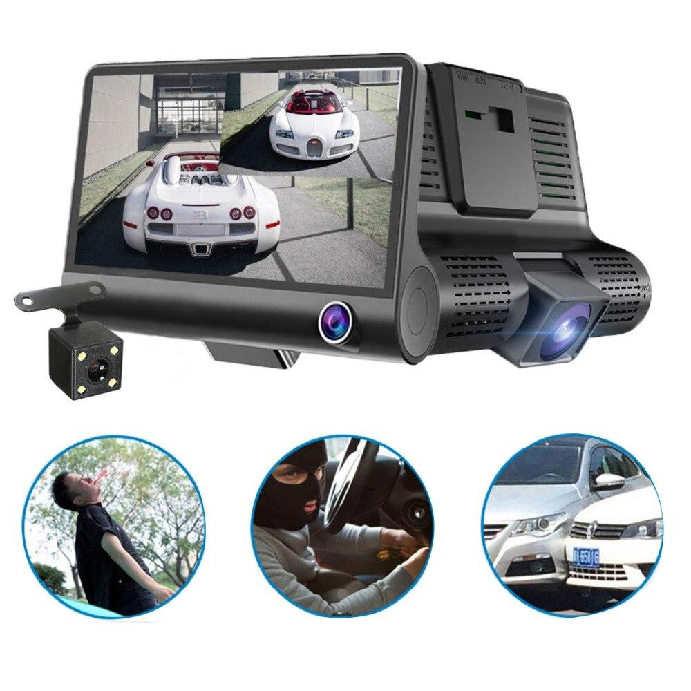 2018 Auto Full HD 1080 p Registrator 170 Degrés Large 4.0 pouce à Trois voies Dash Cam Voiture Caméra Angle vidéo Enregistreur G-Capteur Affichage