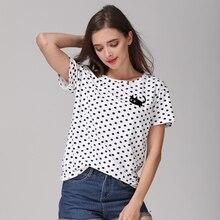 Nova Moda do Verão das Mulheres T-Shirt Pontos Das Meninas Assentamento Básicos Polka Dots Impresso Manga Curta Top Plus Size M-4XL