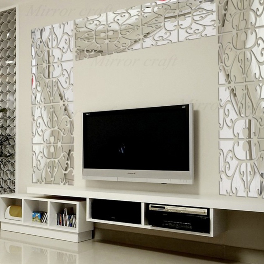 Flower vine mirror wall stickers kitchen acrylic mirrored flower vine mirror wall stickers kitchen acrylic mirrored decorative sticker waist diagonal mirror stickers room decoration in wall stickers from home amipublicfo Image collections